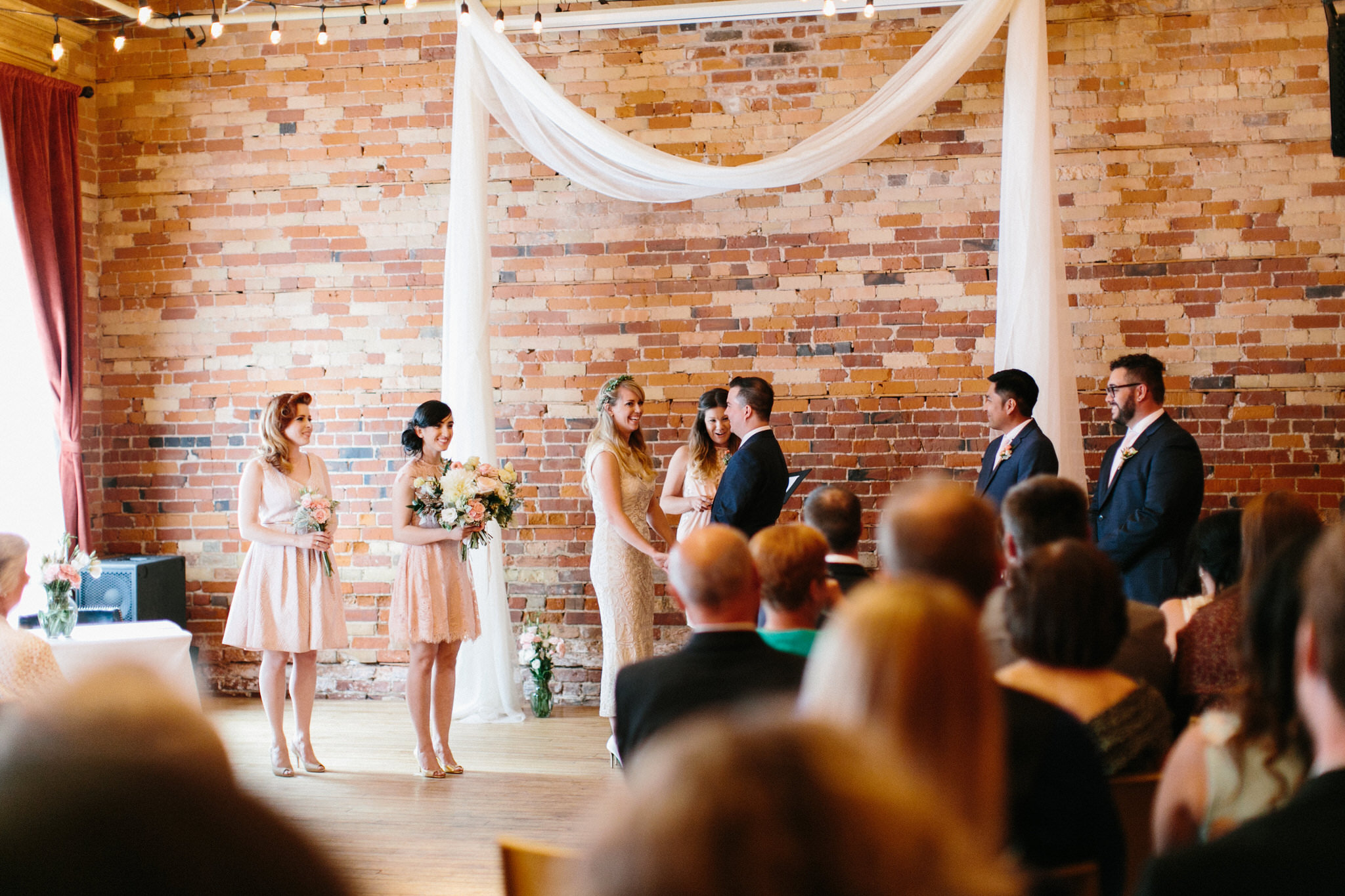 toronto wedding photographer, gladstone hotel, gladstone hotel ceremony, blush wedding, coriander girl flowers
