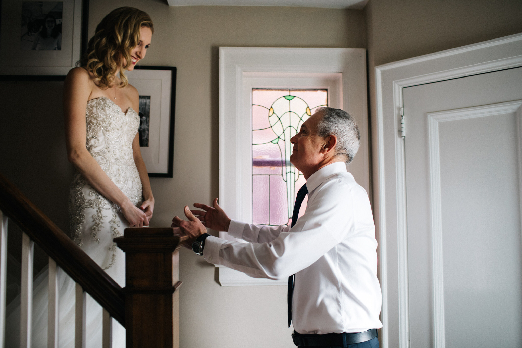 father of the bride first look, bride getting ready, berkeley church wedding, toronto wedding photographer