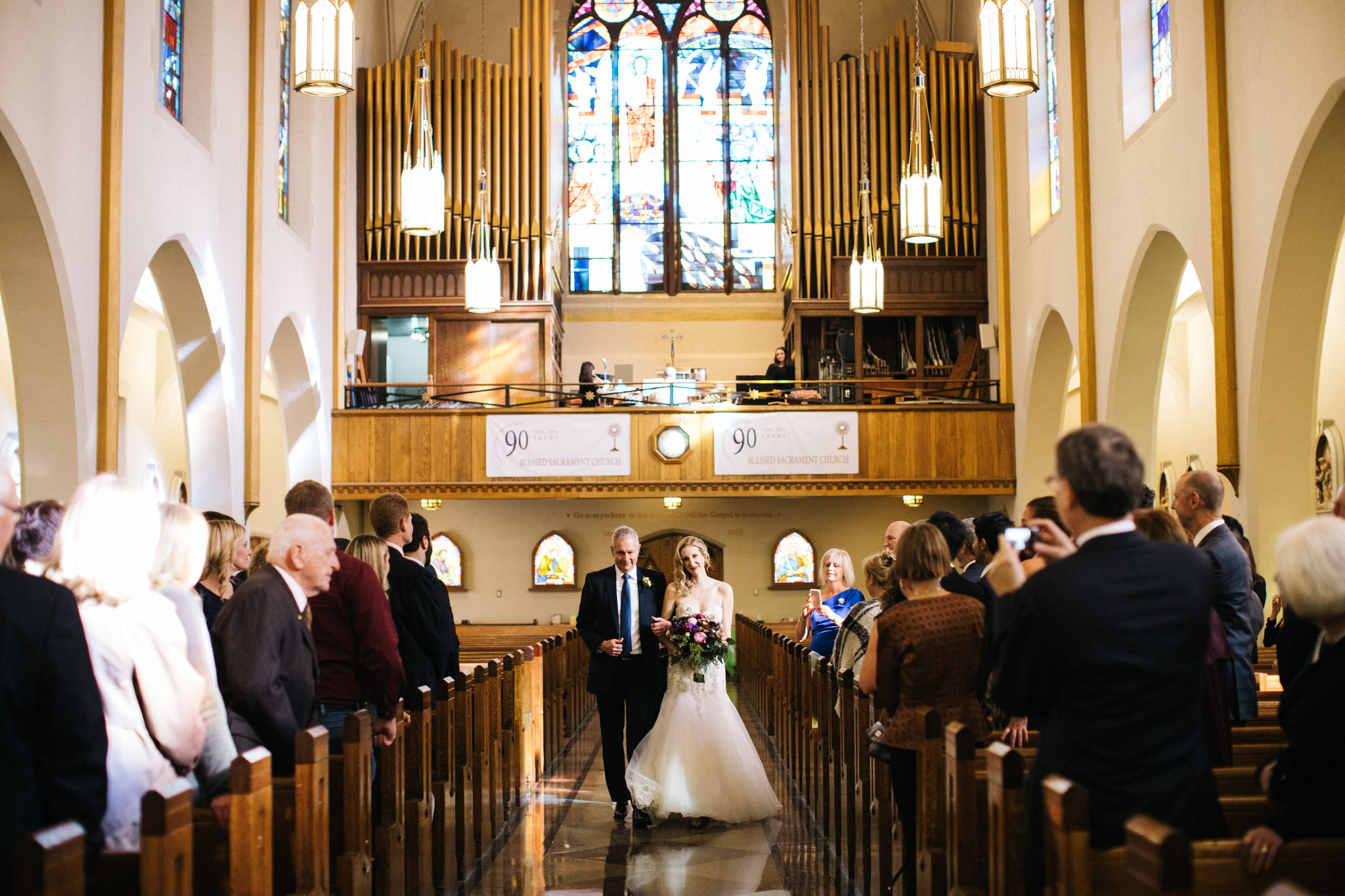 Blessed sacrament parish toronto, toronto wedding, church wedding, wedding photographer toronto, berkeley church wedding, bridal gown, walking down the aisle