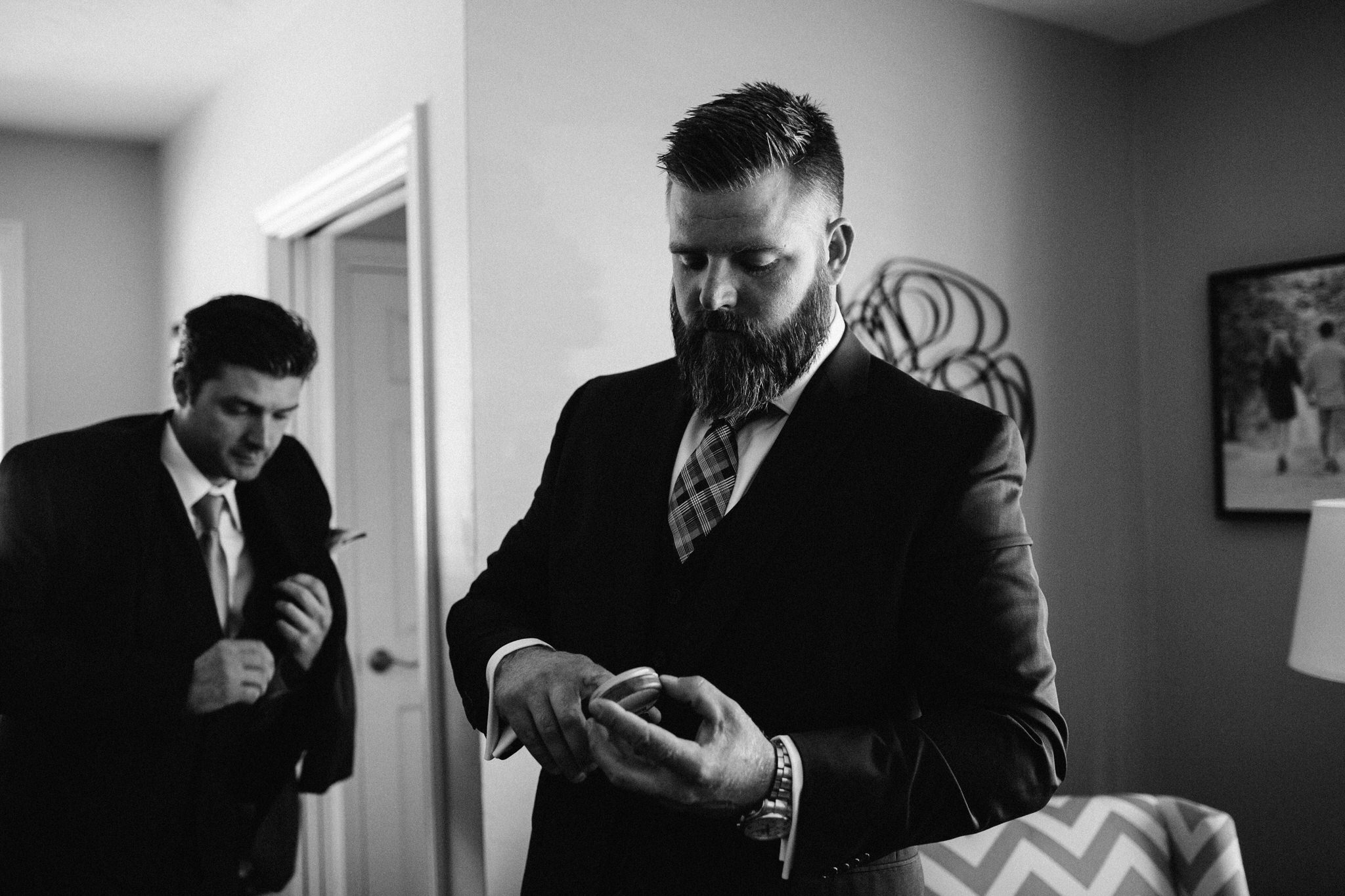 St. George Anglican Oshawa, Toronto wedding photographer, groom getting ready, parkwood estates oshawa,