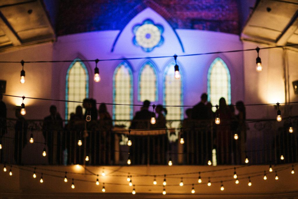 berkeley church string lights, berkeley church wedding toronto, purple uplighting
