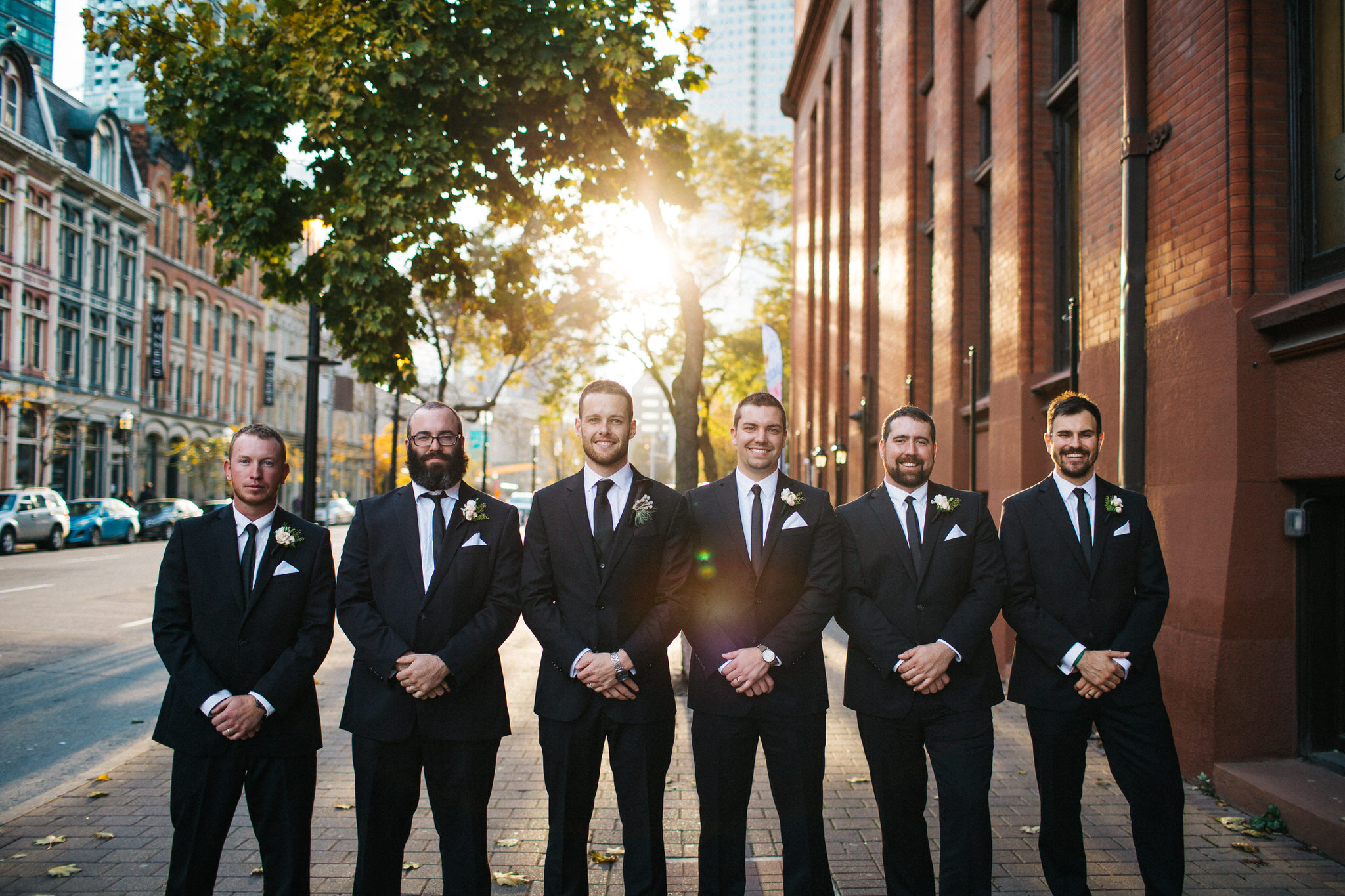 groomsmen at flatiron building, Flatiron building toronto, wedding party photos, toronto wedding, berkeley church wedding, wedding photographer toronto