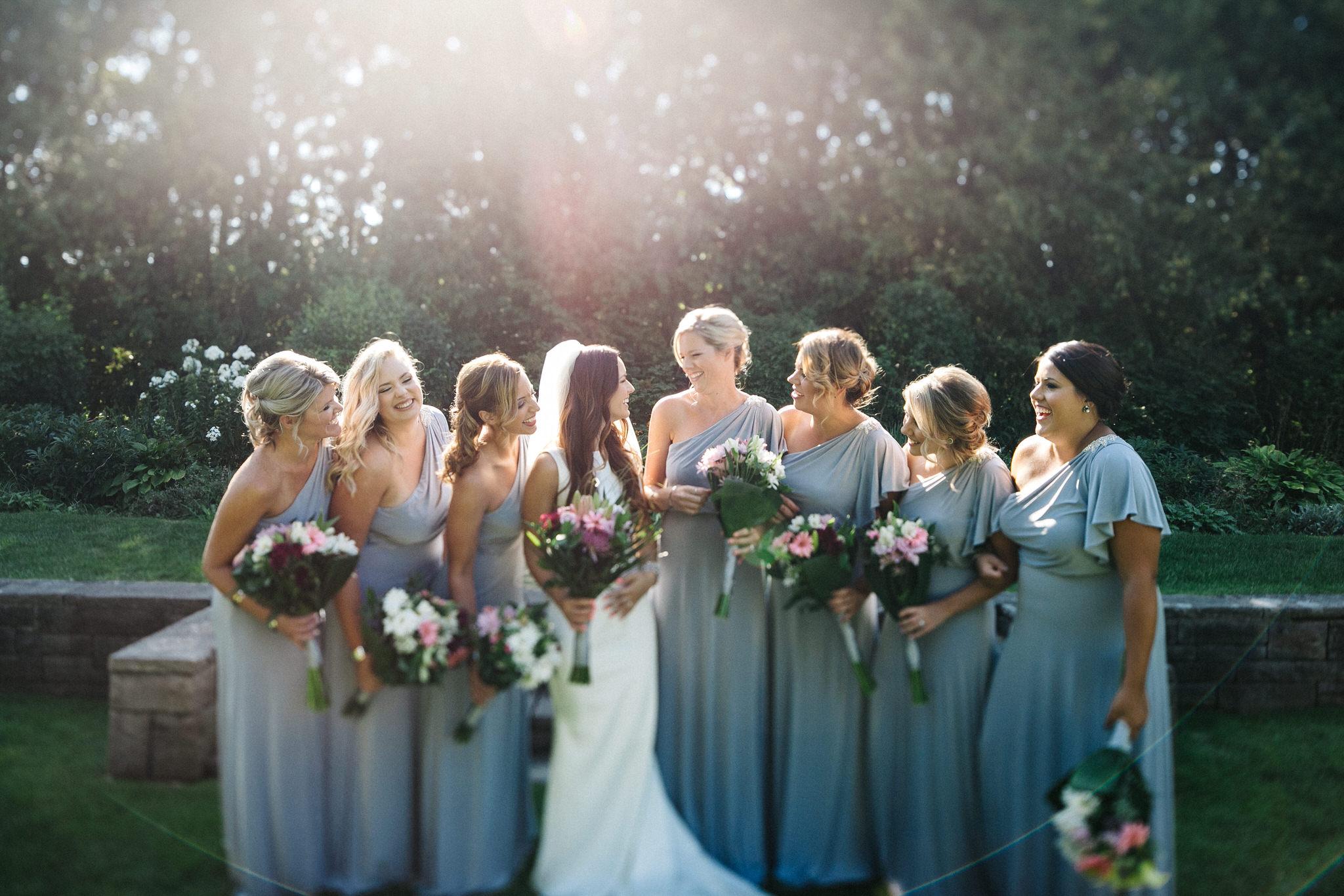 St. George Anglican Oshawa, Toronto wedding photographer, parkwood estates oshawa, tilt shift, lens flare, bridesmaids