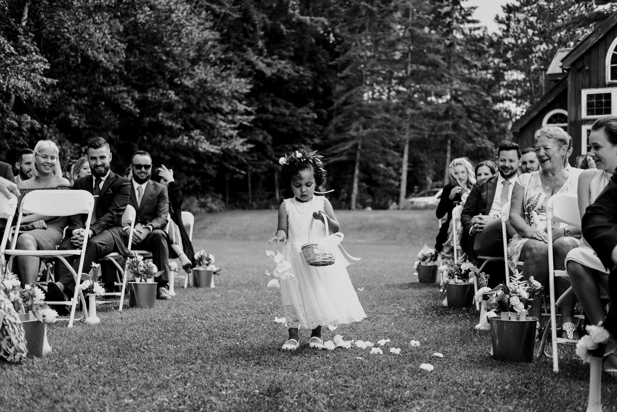 Trillium Resort Muskoka Wedding Photographer, Toronto Wedding Photographer, Cottage Wedding, flower girl